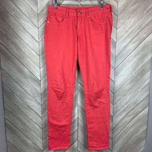 American Eagle skinny stretch jeans coral pink Sz6